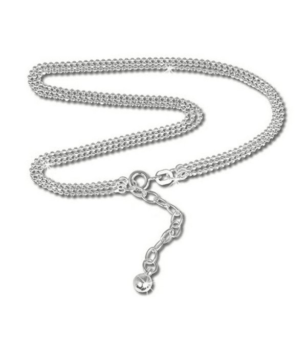 Elensan Silberdream Anklet Trhree Rows Ball Chain- S925 Sterling Silver 9.45 Inch - CI12CGDFS1V