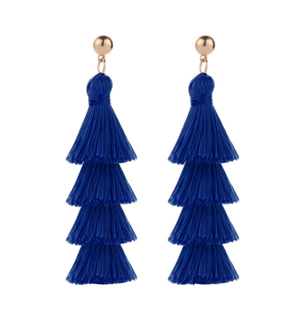 BaubleStar Tassel Earrings Handmade Tiered Thread Tassel Dangle Earring - Royal Blue - C5186QXL28K