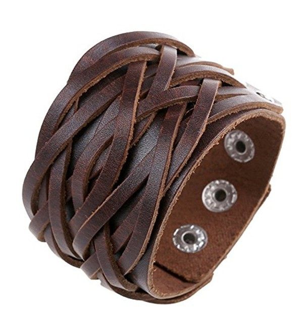 Chunky Leather Bracelet Women Handmade Brown C9184g8sldn