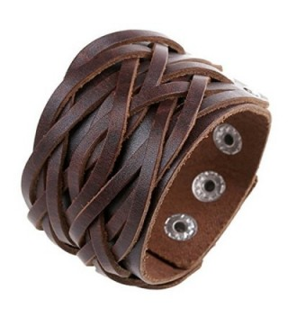 Chunky leather bracelet women Handmade - brown - C9184G8SLDN