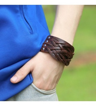 Chunky leather bracelet women Handmade