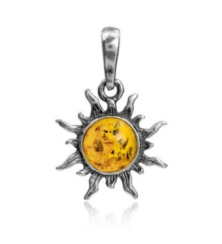 Amber Sterling Silver Flaming Sun Pendant - C012N3W9X0K