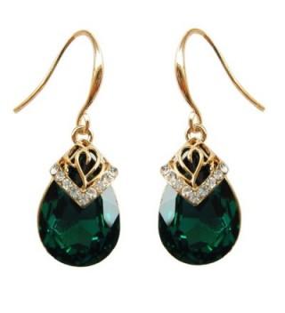 Navachi 18k Gold Plated Crystal Water Drop Green Zircon Dangle Earrings Women - C711T9JNREV
