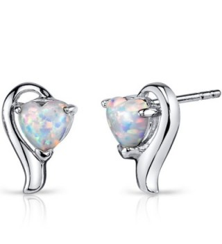 Created Opal Heart Helix Earrings Sterling Silver 1.25 Carats - CE122MQK817