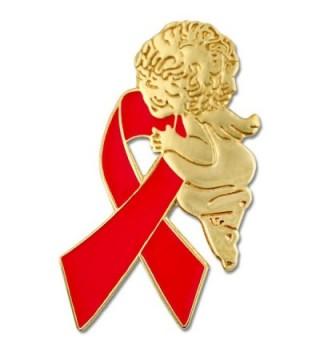PinMart's Red Awareness Ribbon Religious Spiritual Angel Enamel Lapel Pin - CJ11KRNFUBB