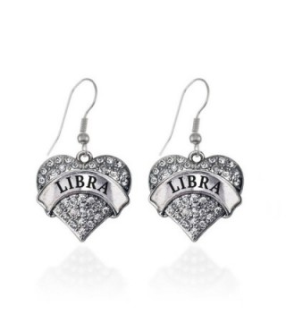 Libra Zodiac Pave Heart Earrings French Hook Clear Crystal Rhinestones - CU1240KVWE5