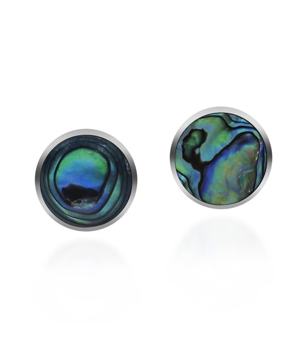 Cute Inlay Abalone Shell Round .925 Sterling Silver Push Back Earrings - CU11R71QCSB