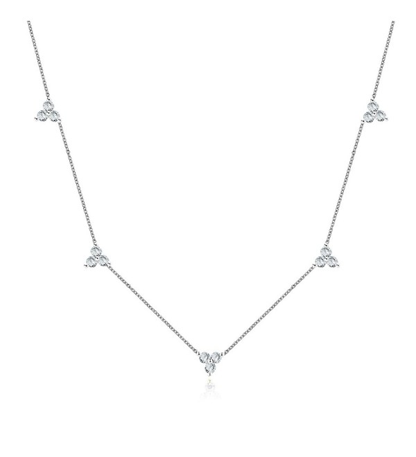 Sterling Silver Triple Cubic Zircon Stones Cluster Choker Chain Necklace 14-16 Inch- 3 Colors Available - White - CC187K6TS9T