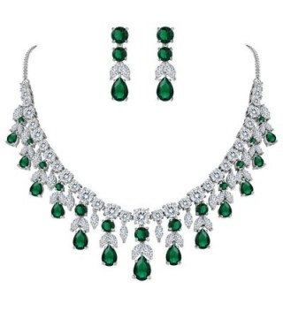 BriLove Women's Wedding Bridal CZ Cluster Leaf Teardrop Statement Necklace Dangle Earrings Set - Emerald Color - CF185OXURZ4