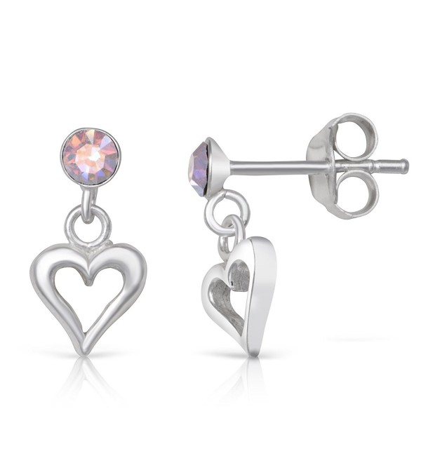 Sterling Silver Simulated Opal Heart Rhodium Plated Dangle Drop Earrings - CJ18525ZRUY