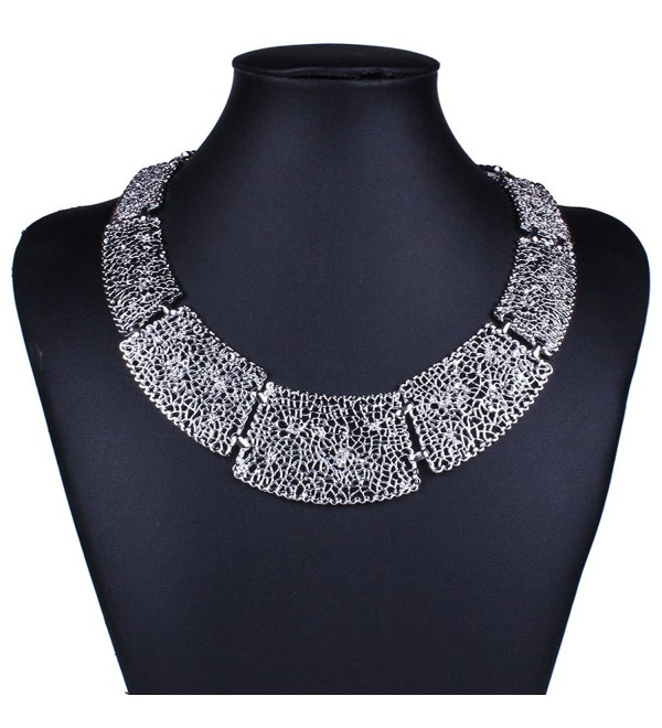 YAZILIND Retro Hollow Out trapezoid Linked Bib Collar Statement Necklace Jewelry - CJ11T8FQXDN