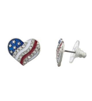 Lux Accessories Silver Tone Americana American Flag Pave Heart Stud Earrings - CG12LHJ2GDX