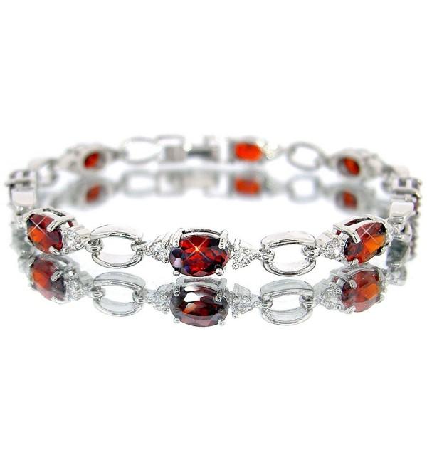 Ruby Color CZ Oval Silver Tone Bracelet BC411 - C911EWF1NSJ