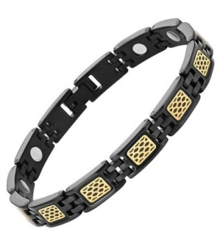 Womens Titanium Magnetic Therapy Bracelet with Honey CombAdjustable and Gift Box Included By Willis Judd - CP128DT0X49