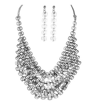 Silvertone Multilayered Chainmaille Collar Bib Necklace Earring Jewelry Set for Women - CI11NUZHR05