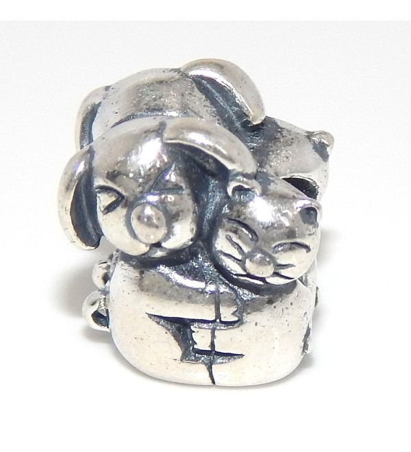 Pro Jewelry 925 Solid Sterling Silver Two-sided Dog and Cat Hugging Charm Bead - C417YH0YUG3
