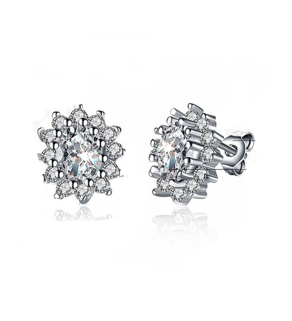 Fashion Jewelry Titanium Blue Crystal Stone Lady's Charming Stud Earring - White - CB1800C8DX9