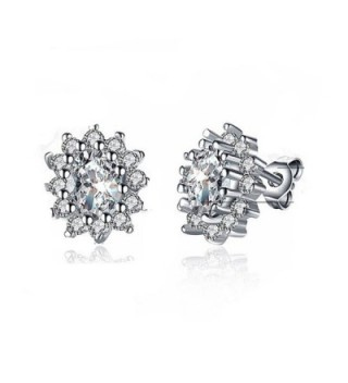 Fashion Jewelry Titanium Blue Crystal Stone Lady's Charming Stud Earring - White - CB1800C8DX9