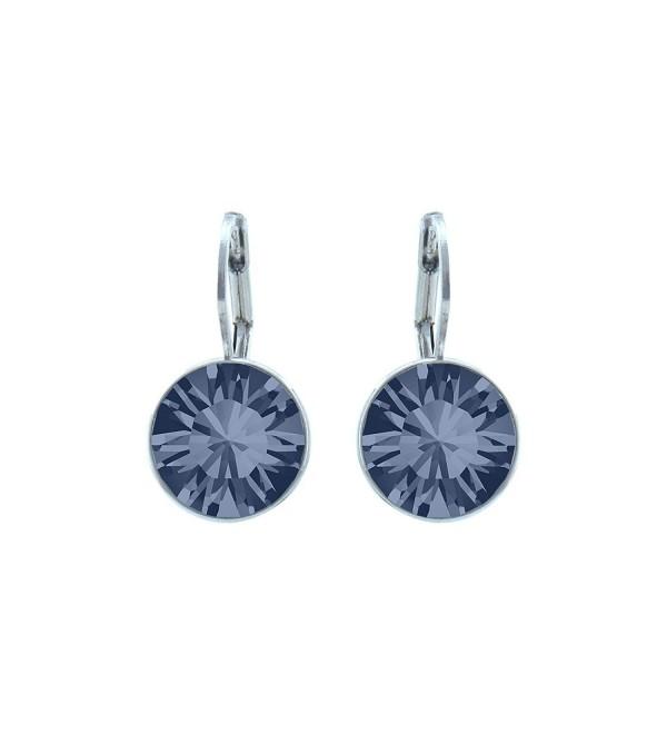 CP Baby Mini Bella Denim Blue Rhodium Plated Earrings Made with Swarovski Crystals - C0186N55LQX