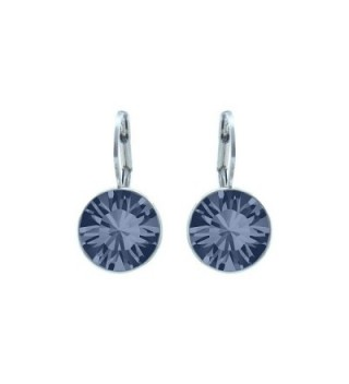 CP Baby Mini Bella Denim Blue Rhodium Plated Earrings Made with Swarovski Crystals - C0186N55LQX