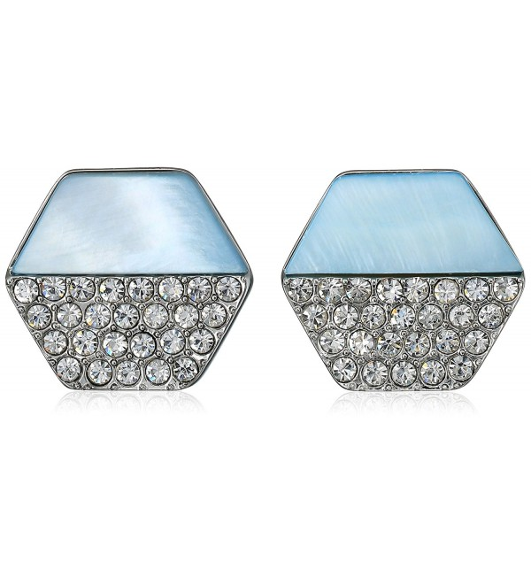 T Tahari Mop/Pave Hexagon Disc Button Stud Earrings - Silver/Blue - CH17YKU0WW3