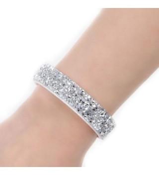 Sexy Sparkles Suede Velvet Slake Bracelet With Rhinestones - Clear - CK12G5KUSD9