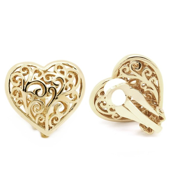 Sparkly Bride Heart Filigree Clip On Earrings Gold Plated Ornate Scroll - C112CH54C6P