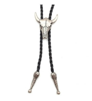 Jenia Vintage Leather Necktie Cord Bolo Tie Rope Necklace for Women and Men - cow skull bolo tie-silver - C612NR76Y12