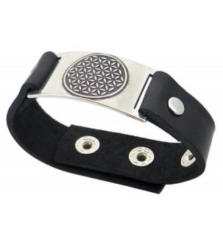 Flower of Life Bracelet- Black Leather- Adjustable - C711CTJCS5R