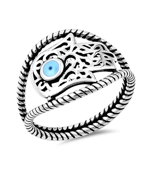 Sideways Hand of God Filigree Hamsa Ring .925 Sterling Silver Band Sizes 5-10 - C312JBXGLKB