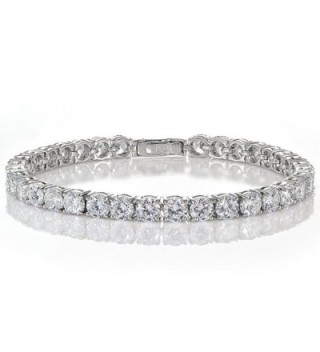 Sterling Silver Cubic Zirconia 5mm Round-cut Tennis Bracelet - Sterling Silver - CE12O1AO5MC