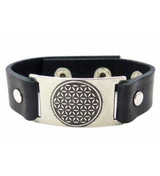 Flower Bracelet Black Leather Adjustable