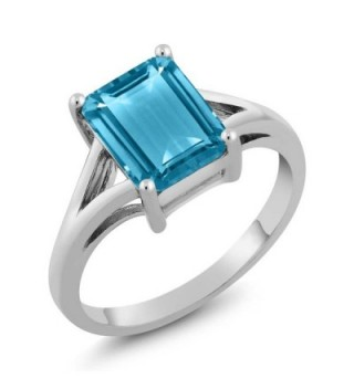 Sterling Silver Swiss Blue Topaz Women's Engagement Ring Emerald Cut (3.20 cttw- Available in size 5- 6- 7- 8- 9) - CC11N5LQIOF