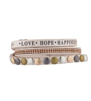 Lux Accessories Faux Tan Leather Love Hope Happiness Rhinestone Studded Bracelet - CY1855R6T2R