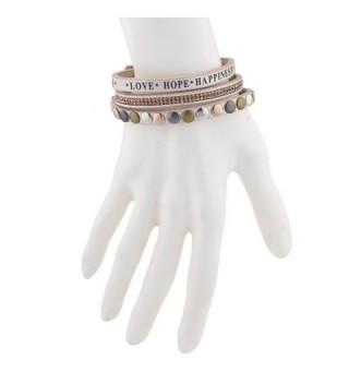 Lux Accessories Happiness Rhinestone Bracelet in Women's Wrap Bracelets