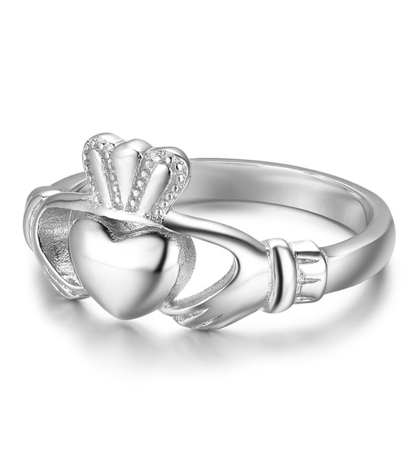 S925 Sterling Silver Irish Ladies' Claddagh Ring- Size 6 7 8 9 - C418882GEYI