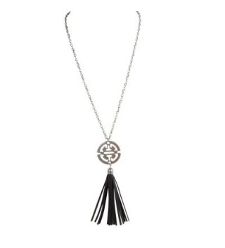 Antique Silver 30 in. Necklace with Chinese Symbol Medallion with Brown Faux Leather Tassel - CW183C0ISO2