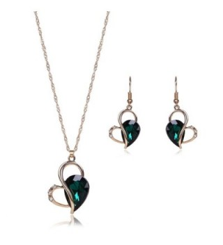 OUFO Necklace Earring Ring Fashion Jewelry sets - Dark Green Stone - CH12N2M8SCN