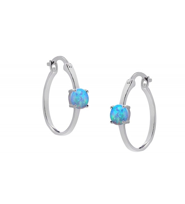 Women Sterling Silver .925 Created Blue Opal Stud Hoop Earring - CN12L3BJFEN
