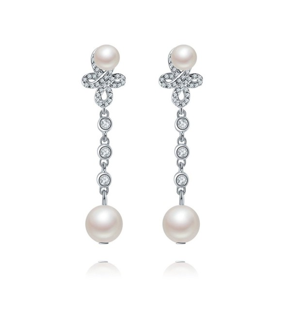 Forever Love925 Sterling Silver Double Shell Pearl Teardrop Dangle Earrings Drop AAA Zircon Bridal Jewels - CA1863I27TX