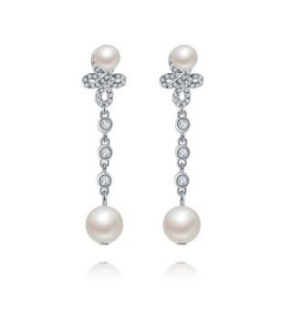Forever Love925 Sterling Silver Double Shell Pearl Teardrop Dangle Earrings Drop AAA Zircon Bridal Jewels - CA1863I27TX