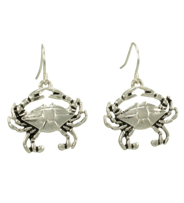 Beach Crab Silver Tone Dangle Earrings Ocean Crustacean Seashore Resort - CW11UJZ7YP7