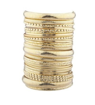 Lux Accessories Women's Girl's Goldtone Textured&Acirc Multiple Bangle Bracelet Set - C217YHN0HO8