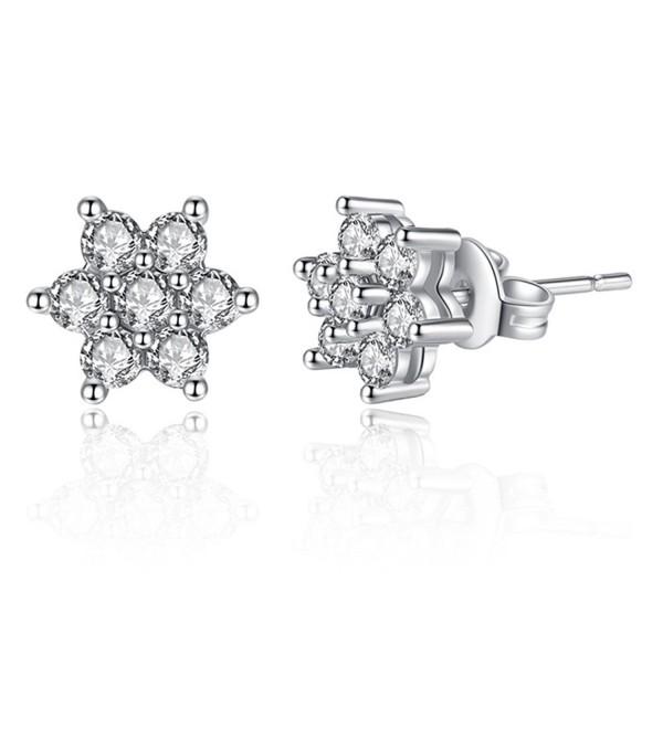 Spiritlele Delicate Sparkling Geometric Zirconia - 1pair flower - CY184RY4XS9