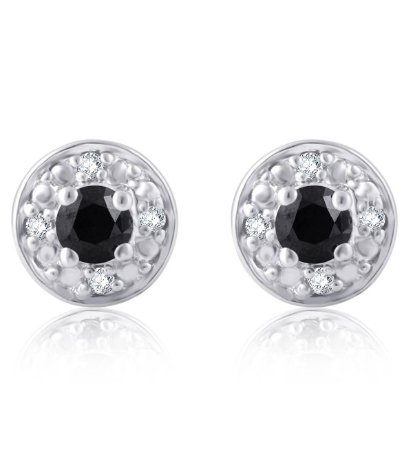 1/4 Cttw Black and White Diamond Stud Earring in Sterling Silver - C01859H76Q2