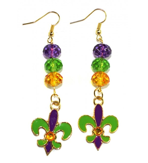 "Fleur De Lis Mardi Gras Gold-toned Dangle Earrings 2"" Jewelry - CF11TG5A85X"