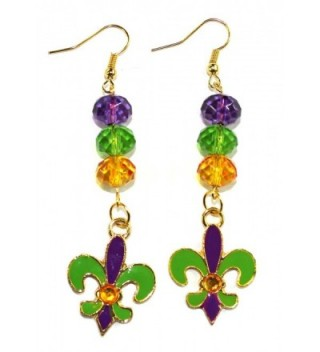 "Fleur De Lis Mardi Gras Gold-toned Dangle Earrings 2"" Jewelry - CF11TG5A85X"