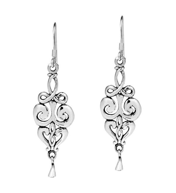 Elegant Vintage Swirls Drop .925 Sterling Silver Dangle Earrings - CN17Z547RMT
