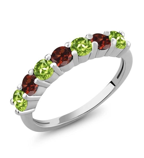 1.32 Ct Round Green Peridot Red Garnet 925 Sterling Silver Anniversary Ring - C512EKPZMZF