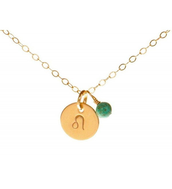 Leo Necklace - Tiny Gold Filled Simple Zodiac Sign with Birth Month Charm- Zodiac Pendant - CW11EGKP7FP